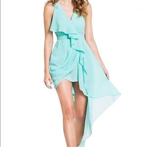 DAILYLOOK mint green HIGH LOW CHIFFON DRESS size S
